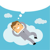 Concept of big dreams. Business man dreaming on a cloud. Concept of big dreams Royalty Free Stock Photo