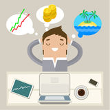 Concept of big dreams. Business man dreaming on a cloud. Concept of big dreams Stock Images