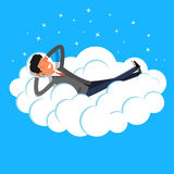 Concept of big dreams. Business man dreaming on a cloud. Concept of big dreams Royalty Free Stock Image