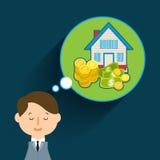 Concept of big dreams. Business man dreaming. Flat design, vector illustration Stock Image