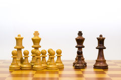 Concept of big family with different ethnicity. With pawns of chess Stock Photography