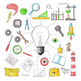 Concept of big idea in the form of bulb lamp with different obje. Modern color pencils style vector illustration, concept of big idea in the form of bulb lamp Stock Images