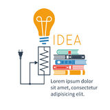 Concept of big idea. Light bulb, books. Abstract vector background Stock Image