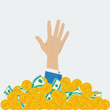 Concept of big money. Big coins pile with hand Royalty Free Stock Image