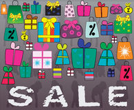 Concept of Big Sale with many little gifts and shopping bags. Many little gifts and shopping bags hand illustrated Royalty Free Stock Photo
