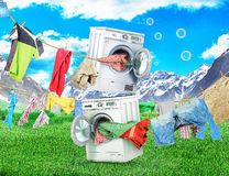 The concept of big washing. Royalty Free Stock Images