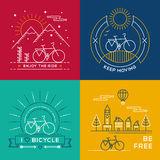 Concept bike line art bicycle set poster nature Stock Photo