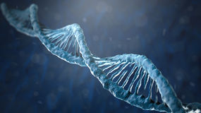 Concept of biochemistry with dna molecule. On blue background Stock Photography