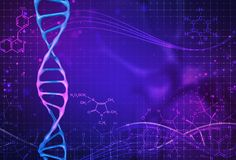 Concept of biochemistry with dna molecule on color background. Science concept background. 3 d render royalty free illustration