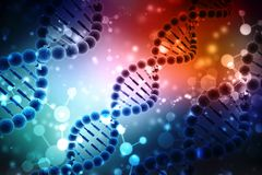 Concept of biochemistry with dna molecule isolated in MEDICAL background, 3d rendering. 3d render of dna structure, Medical Technology background Royalty Free Stock Photography