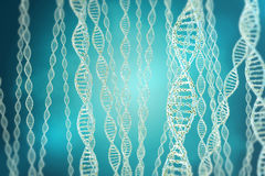 Concept of biochemistry with dna structure on blue background. 3d rendering Medicine concept. Stock Photography
