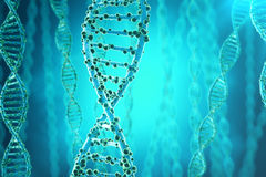 Concept of biochemistry with dna structure on blue background. 3d rendering Medicine concept. Stock Images