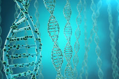 Concept of biochemistry with dna structure on blue background. 3d rendering Medicine concept. Royalty Free Stock Photography