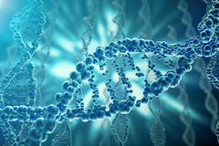 Concept of biochemistry with dna structure on blue background. 3d rendering Medicine concept. Stock Image