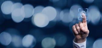 Concept biométrique d'identification avec des empreintes digitales photos stock