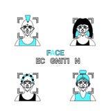 Concept biométrique d'identité d'Access d'identification réglé par icônes de reconnaissance des visages Photos stock