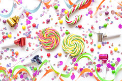 Concept birthday party on white background top view pattern.  Royalty Free Stock Images