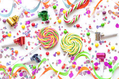 Concept birthday party on white background top view pattern Stock Photo