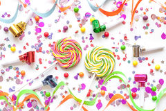Concept birthday party on white background top view pattern Stock Photos