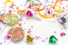 Concept birthday party on white background top view pattern.  Royalty Free Stock Image