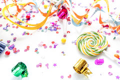 Concept birthday party on white background top view pattern.  Royalty Free Stock Photo