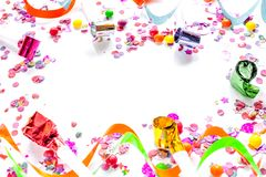 Concept birthday party on white background top view pattern. Mock up Royalty Free Stock Images