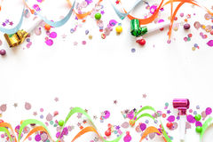 Concept birthday party on white background top view pattern Royalty Free Stock Photo