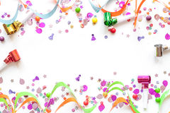 Concept birthday party on white background top view pattern Stock Photography