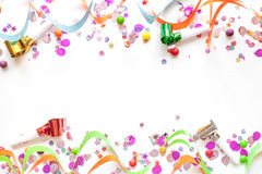 Concept birthday party on white background top view pattern Stock Image