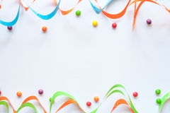 Concept birthday party on white background top view pattern Royalty Free Stock Photos