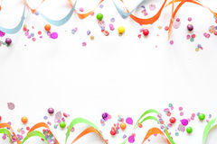 Concept birthday party on white background top view pattern Stock Images