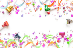 Concept birthday party on white background top view pattern. Mock up Royalty Free Stock Photos