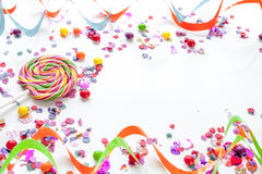 Concept birthday party on white background top view pattern Royalty Free Stock Image