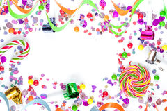Concept birthday party on white background top view pattern. Mock up Royalty Free Stock Photography