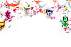 Concept birthday party on white background top view pattern. Mock up Stock Photo