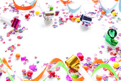 Concept birthday party on white background top view pattern. Mock up Stock Image