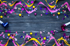 Concept birthday party on wooden background top view pattern. Mock up Royalty Free Stock Photography