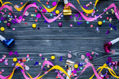 Concept birthday party on wooden background top view pattern. Mock up Stock Photos
