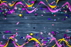 Concept birthday party on wooden background top view pattern. Mock up Stock Photo