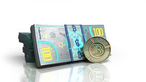 Concept of bitcoin banknote and monet virtual money bills 3d ren Stock Photo