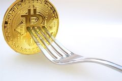 Concept of Bitcoin Cash Hardfork, Between Bitcoin ABC and nChain Developer,. Cryptocurrency royalty free stock images