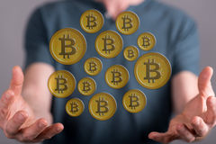Concept of bitcoin currency Stock Photography