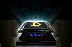 Concept Bitcoin gouden B op cpu-chip Stock Foto's