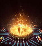 Concept Of Bitcoin Like A Computer Processor With Magic Digital Light. 3D Illustration Royalty Free Stock Photo