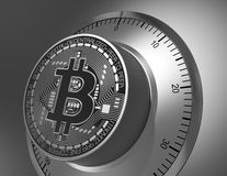 Concept Of Bitcoin Like A Safe Lock. 3D Illustration Stock Photos