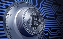 Concept Bitcoin zoals een Elektronisch Veiligheidsslot Stock Foto's