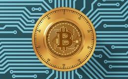 Concept Bitcoin zoals een Elektronisch Veiligheidsslot op Blauwdrukke Kringsraad Royalty-vrije Stock Afbeelding
