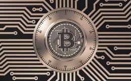 Concept Bitcoin zoals een Elektronisch Veiligheidsslot op Gedrukte Kringsraad Royalty-vrije Stock Foto's