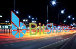 qConcept of Bitshares coin moving fast on the road, a Cryptocurrency blockchain platform vector illustration