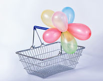 Concept of black friday advert sale empty metal shopping basket Stock Photos